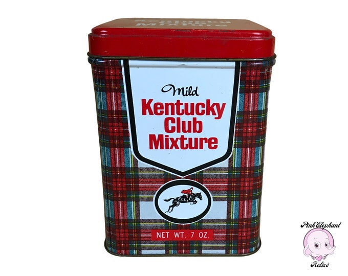Vintage Kentucky Club Mixture Red Plaid 7 oz Tobacco Tin - Mid-Century Retro Smoking Lounge / Cigar Room Decor - 1960's General Store Props