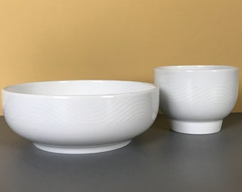 """Vintage Pan Am Airlines Egg Cup & Cereal Bowl Set - 2 First Class Catering Dishes - Modern Style """"White Wave"""" Bauscher Weiden Bavarian Bowls"""
