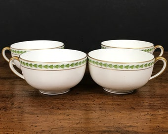 4 Antique Limoges Tea Cups - French White Porcelain China w/ Gold Rim & Green Laurel Leaf Edge - Tressemann and Vogt Pattern 5856 Cup Set