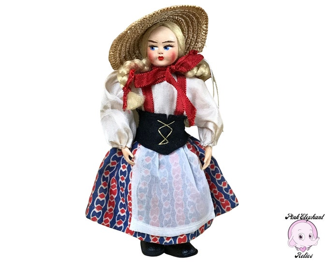 """Vintage 6"""" Plastic Swiss Alpine """"Heidi"""" Doll in Traditional Dress & Straw Hat Made in Italy - 1950's Collectible Blond Souvenir Toy Dolls"""