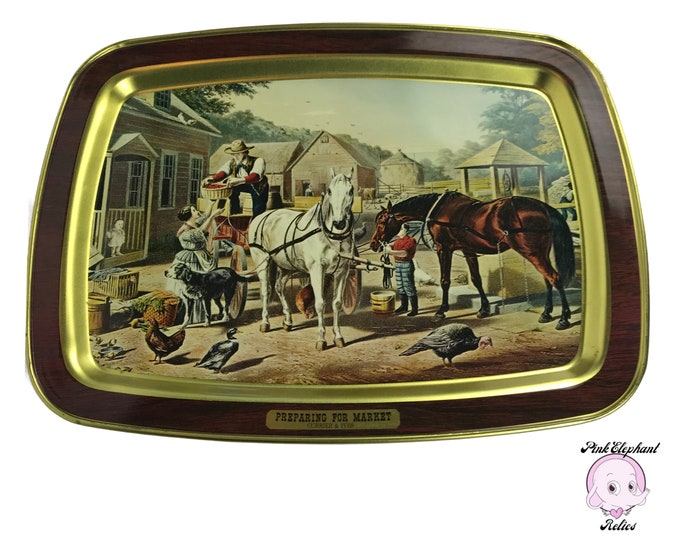 "Vintage Currier and Ives ""Preparing For Market"" Decorative Tin Tray w/ Country Western Equestrian Art Motif - Farm Style Rustic Wall Decor"