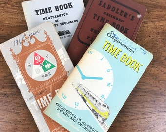 1950's 1960's Railroad Enginemen's Time Log Books - 4 Vintage Train Employee Record Book Set - Brotherhood of Locomotive Firemen & Enginemen