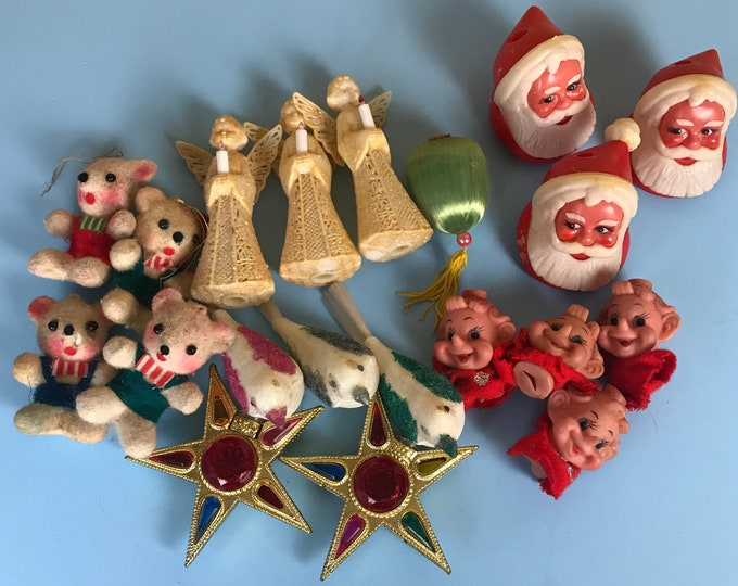 Lot of 20 Vintage Christmas Light Bulb Covers - Santa, Elf, Angels, Flocked Teddy Bears & Dove Birds, Gold Stars - Retro Mid Century Kitsch