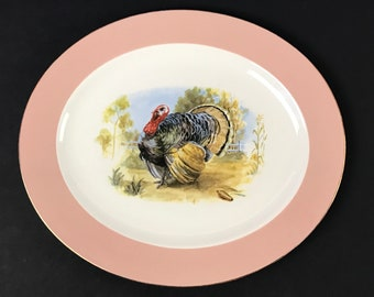 "Beautiful Vintage Thanksgiving Turkey Platter with Blush Pink & Gold Rim - 15"" Elegant Mid-Century Formal Holiday Dinner Oval Serving Plate"
