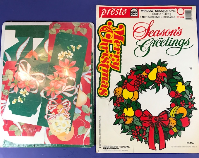 1980's Retro Christmas Decorations & Avon Gift Box Set - Presto 3 pc. Season's Greetings Window Cling Sheet - 80's Vintage Nostalgic Decor