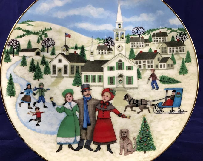 """Royal Windsor """"I Heard The Bells on Christmas Day"""" Collector Plate - Limited - Christmas Carol Collection - Joan Landis - Victorian Holiday"""