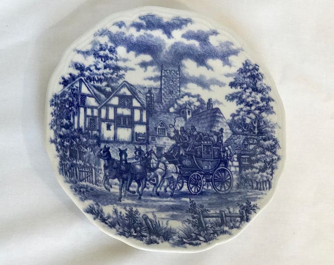 Vitramik 5960 Oxford Quality Salad Fruit Bowl - Blue & White English Stagecoach Scene Country Horses - Made in Brazil - Replacement Dish