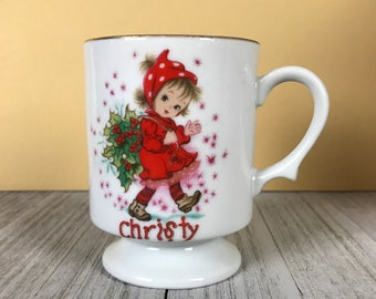 "Vintage Lefton Holiday ""Christy Girl"" Series Porcelain Coffee Mug / Tea Cup - 1960's Kitschy Christmas Decorations & Display Staging Props"