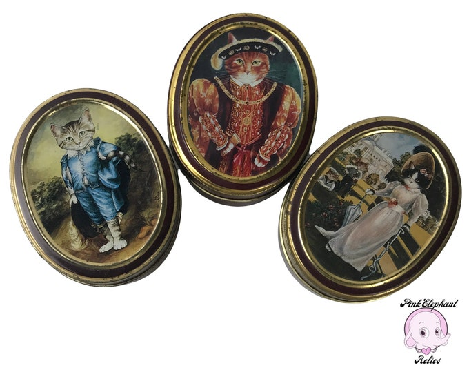 3 Bentley's The Cats Gallery Fruit BonBon Tins inc. Blue Boy, Henry VIII, & Princess ZN Yusupova with Cat Heads - Weird Vintage Cat Art Gift
