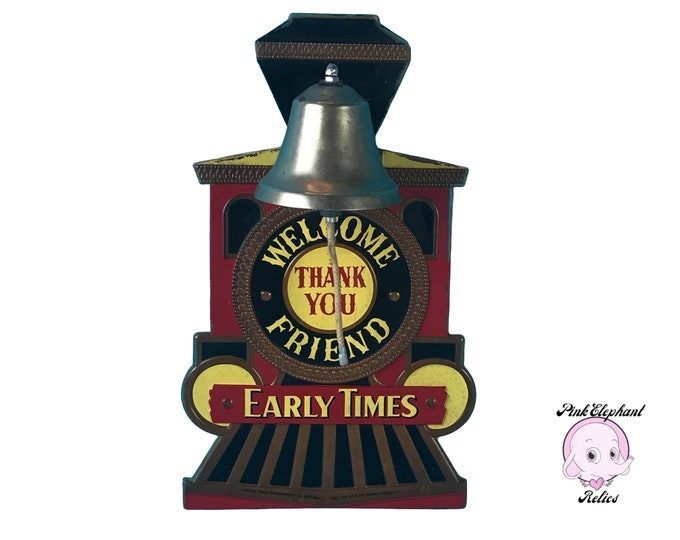 Rare Vintage Early Time Whiskey Train Bell Advertising Bar Sign / Liquor Store Display - Cool Retro Steam Engine Last Call Bell Welcome Sign