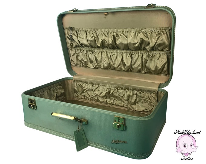 Vintage 1960's Sea Foam Green Suitcase by Lady Baltimore w/ Keys & Luggage Tag - Large Authentic Mid-Century Retro Sage Green Traveling Case