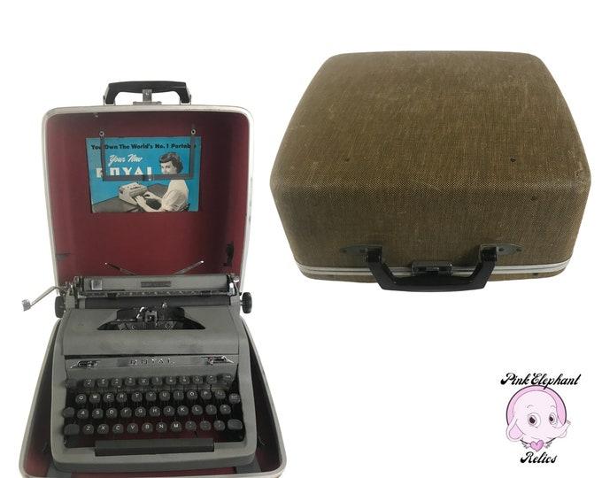 1950's Royal Quiet Deluxe Portable Typewriter in Brown Tweed Case w/ Manual & Brush - Vintage Working Manual Gray Typewriter - MCM Den Decor