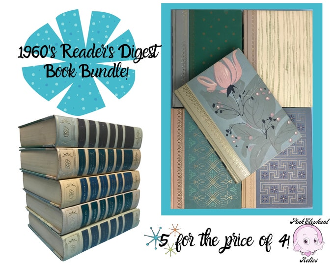 Stack of 5 Mid-Century Hardcover Readers Digest Books w/ Cool Tones & Mod Pattern For MCM Shelf Or Desk Decor - Stylish 60's Office Staging
