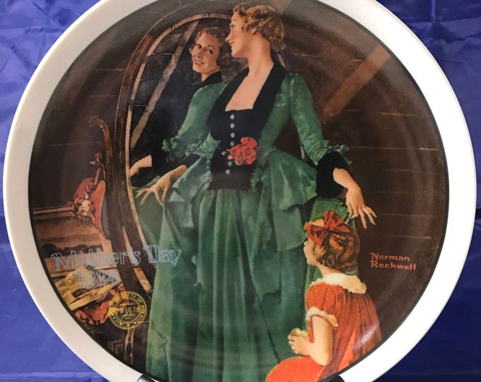 """Norman Rockwell 1984 Mother's Day Collectors Plate - """"Grandma's Courting Dress"""" - Certificate - Numbered - Knowles - Porcelain China - Gift"""