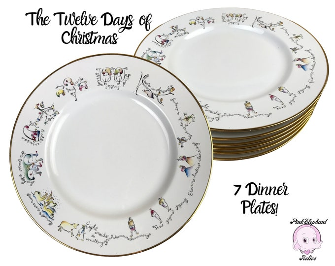 """7 Twelve Days of Christmas 10"""" Dinner Plates by Rosanna of Italy - Vintage White Christmas Holiday Dishes w/ Whimsical Folk Art Edge Motif"""