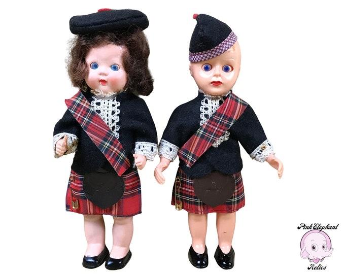 "Vintage 6"" Scottish Lad & Lassie Celuloid Doll Pair Made by Roddy Doll Company England - 1940's Sleepy Eye Boy and Girl Toy Dolls in Kilts"