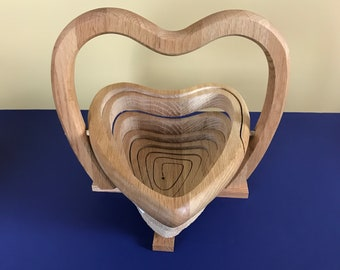Vintage Wooden Heart Shaped Collapsible Basket / Wall Plaque / Trivet - Country Cottage Table Centerpiece - French Farmhouse Valentine's Day