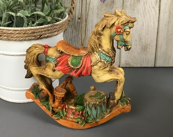 Fancy Rocking Horse Christmas Ornament With Musical Instruments - Parade or Carousel Style Rocking Horse Hanging Figurine Tree Ornaments