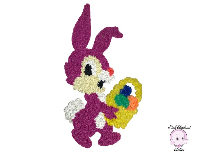 Vintage Popcorn Plastic Purple Easter Bunny Decoration - Retro 70's Classroom Spring Holiday Wall & Door Hanging Decor- School Staging Props