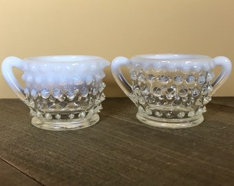 Fenton French Opalescent Hobnail Moonstone Blue Petite Creamer & Sugar Bowl - 1950's Glass Tea / Coffee Set - Old Hollywood Parlor Staging