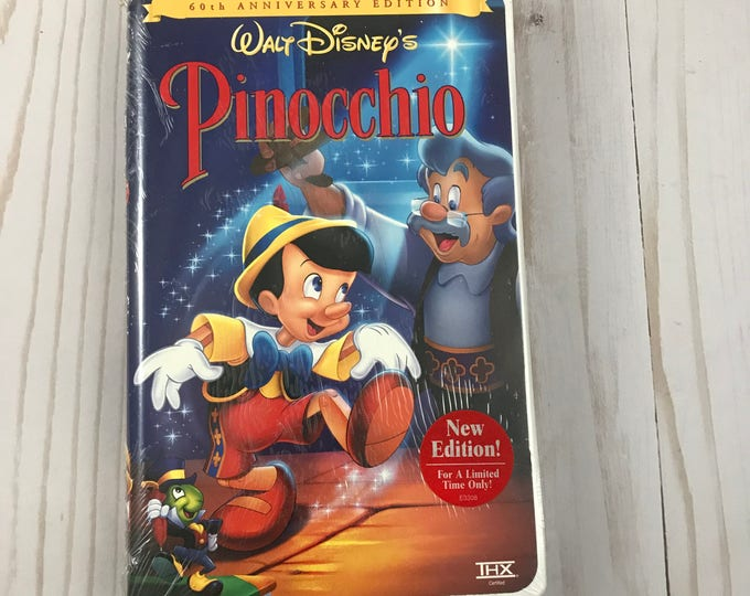 Disney's Pinocchio VHS Video - Factory Sealed - 60th Anniversary Edition - Clam Shell Case - Walt Disney Classic Movie - Family & Children