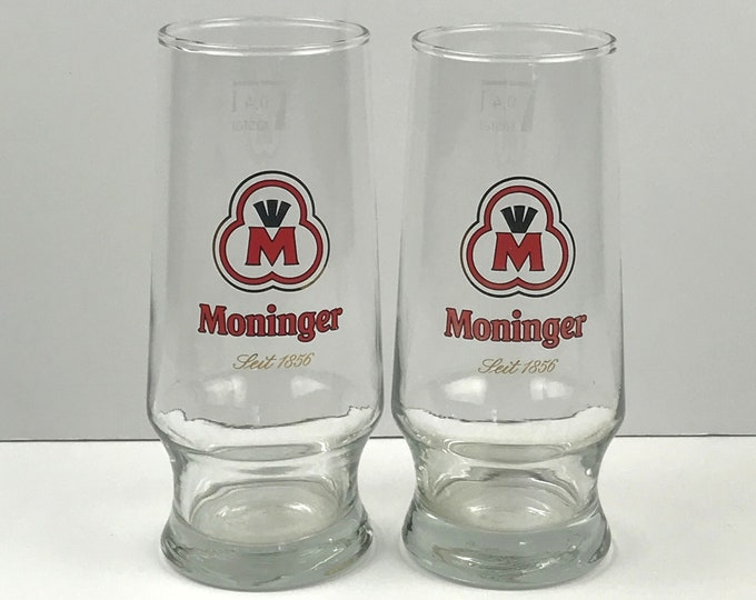 Pair of Red Label Moninger German Beer Pilsner Glasses - Man Cave Barware - Rare Moninger Beer Pint Glass Set - Collectible Breweriana Gifts