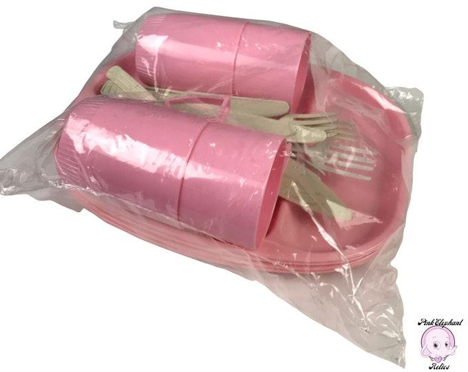 NOS 1950's Pink Plastic Picnic Plates, Stacking Cups & Utensil Set - 22pc Retro Pink Melamine Divided TV Dinner Tray Bundle w/ Cake Server