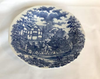 Vitramik 5960 Oxford Quality Salad Dessert Plate - Blue & White English Stagecoach Scene Country Horses - Made in Brazil - Replacement Dish