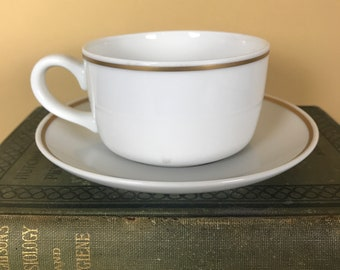 Vintage 1970's Pan Am Airways First Class Passenger Gold Rim Inflight Coffee Cup & Saucer Set by Noritake - White MCM Airport Lounge Decor