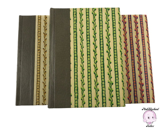 3 Funky Retro Hardcover Books from 1973 by Reader's Digest w/ Gray Spine Color Blocking & Vintage Stripe Patterns for Reading Library Decor