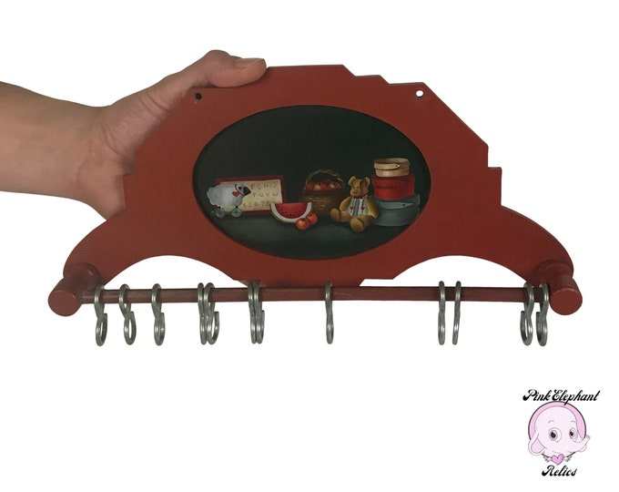 Small Vintage Folk Art Hand Painted Hook Rack Perfect for Hanging Doll Clothes or Pot Holders - Country Farmhouse Style Dish Towel Hangers