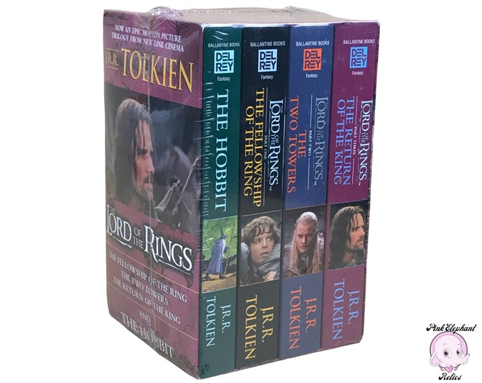 Sealed The Lord Of The Rings Trilogy & The Hobbit 4 Book Boxed Set by JRR Tolkien - LOTR Del Rey Paperback Books -New J.R.R. Tolkien Box Set