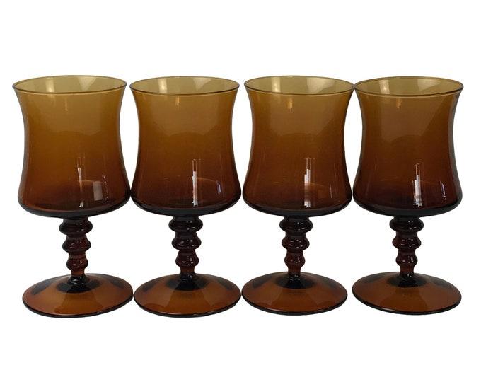 4 Mid-Century Modern Dark Amber Glass Water Goblets / Wine Glasses - Retro 1960's Amber Glass Stemware - Curved MCM Stemmed Drink Glass Set