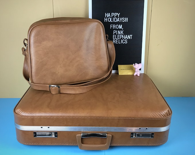 NOS Vintage Locking Brown Suitcase & Carry On Bag Set w/ Key New in Box - Retro Mid Century Luggage Gift - Tan Mod Men's Holiday Travel Case