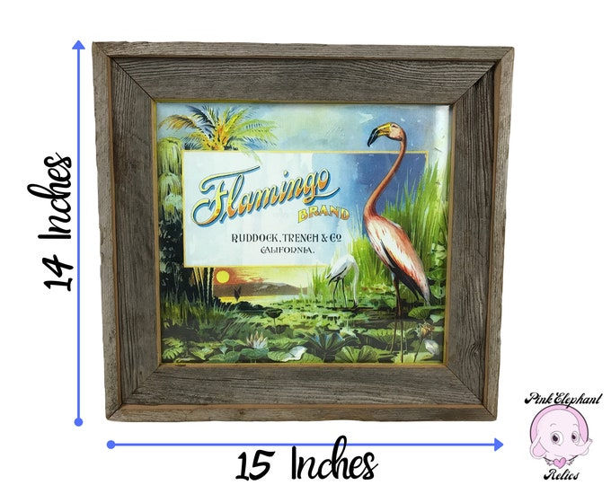 Unique Vintage Flamingo Brand Fruit Label Wall Hanging in Wooden Crate Frame - Mid-century Retro Pink Flamingos Decor - MCM 60s Flamingo Art