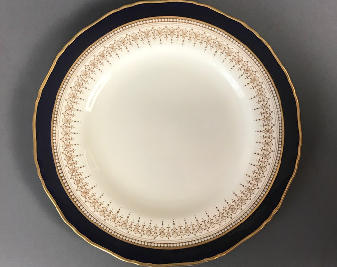 """Royal Worcester Regency Blue 9"""" Dinner Plate / Luncheon Dish - Rare Fine Bone China Cobalt Blue & 24k Gold Scalloped Edge Replacement Dishes"""