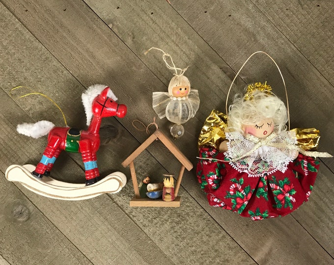 4 Vintage Kitschy Wooden Christmas Ornaments  Red Rocking Horse, Spool Angel, Beaded Angel & Miniature Manger Nativity Scene Wood Ornament