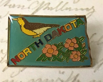 North Dakota Souvenir Enamel Pin - Vintage State Trip Lapel Pin - Hat Pin - Tie Pin - Tack Pin North Dakota Travel - On Sale Free Shipping