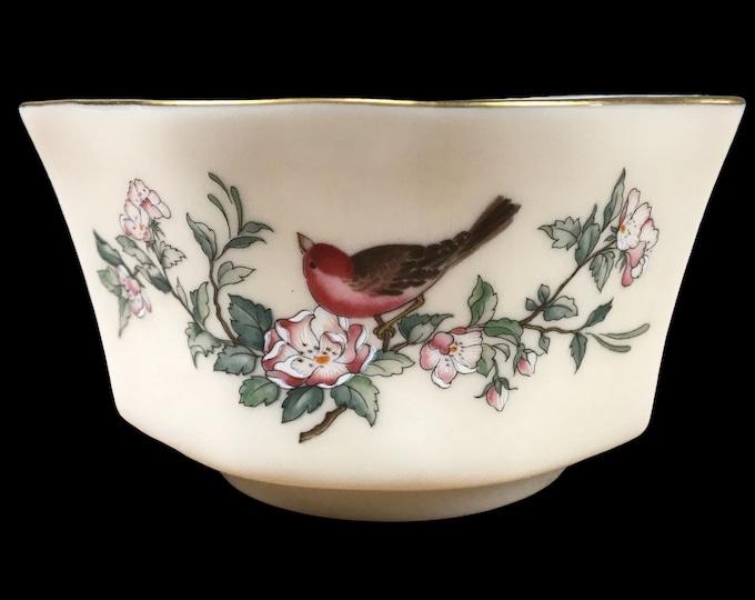 "Lenox Serenade Small Fluted Bowl w/ Songbird Motif & 24K Gold Trim - Vintage Fine China 5"" Dinner Mint Bowl / Fancy Candy Dish /Bird Planter"