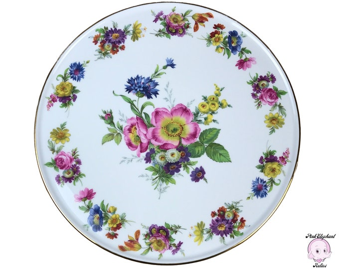 Fancy Floral Cake Platter w/ Gold Edge on White Porcelain by Bayreuth Bavaria - Large Vintage Round Serving Tray for Tea Party Table Staging