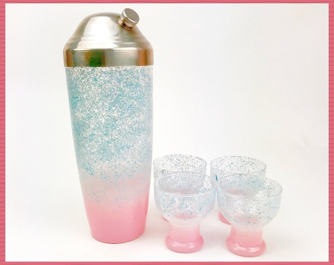 Pastel Splatter Painted Pink & Blue Cocktail Shaker Set - Vintage 1950's Mid Mod Barware Decanter w/ Cordial Glasses - Funky MCM Bar Decor