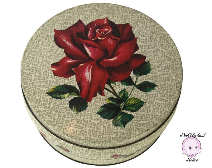 Gorgeous Rare Mid-Century Huntley and Palmers Red Roses Round Biscuit Tin from 1966 -Vintage English Cookie Tin Canister Rose Buds on Gray