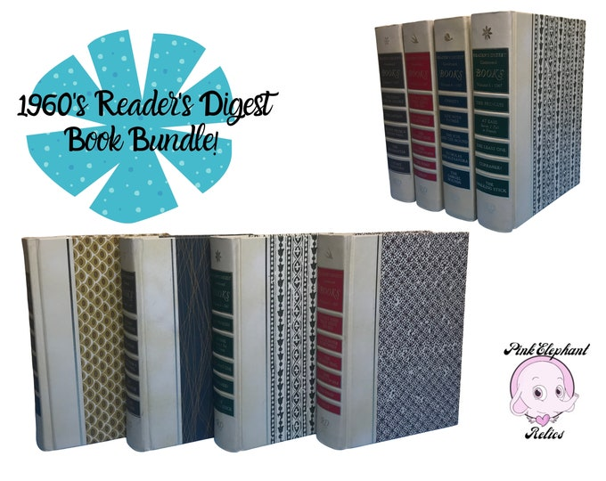 1967 Reader's Digest Condensed Book Set w/ Mid Century Modern Pattern Cover Art - 4 Book Instant Library Decor or Colorful MCM Junk Journals