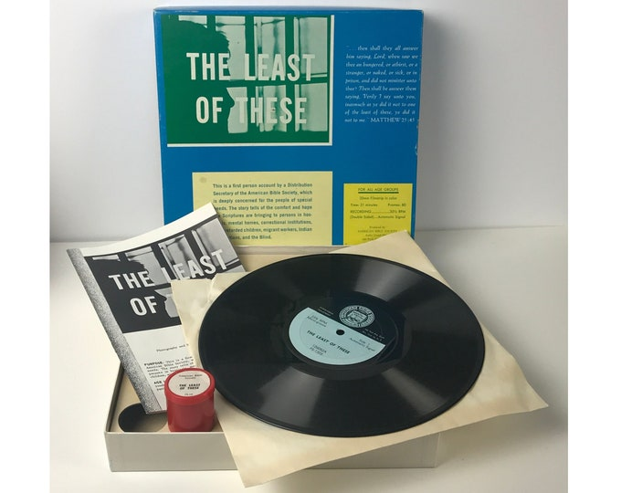 """1950's Biblical Record & Filmstrip Box Set """"These Least of These"""" Bible Scriptures for Special Needs - Vintage 50's Educational Recordings"""
