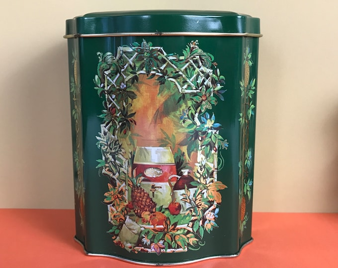 Hunter Green Tea Tin with Hacienda Scene with Pineapple & Botanical Accents - Vintage 1981 Avon Tin Can Made in England - Boho Chic Kitchen