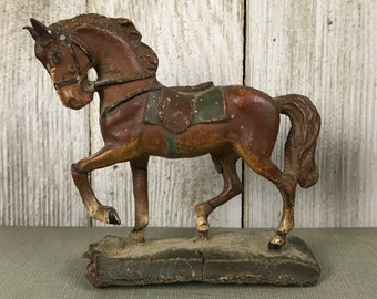 Pre WWII Miniature German War Horse CompositionToy Elastolin Lineol Germany - Very Vintage Military Toy Soldier Horse - 1930's Horse Toys