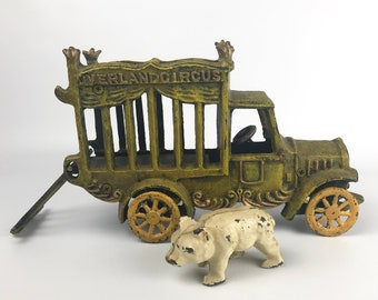 "Overland Circus Cast Iron Polar Bear Truck w/ Bear - Vintage Reproduction of Antique Toy - 11"" Animal Hauler - Circus Decor Christmas Gift"