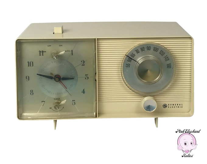 1960's Bedside Alarm Clock Radio by General Electric Model C-505 - Rare Vintage Off White Mid-Century Modern AM Tube Radio Night Table Clock
