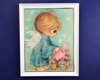 "Hallmark's ""Little Angels"" 9x11 Blue Wall Hanging - 1970's Big Eyes Girl Framed Nursery Art Print - Vintage Baby Angel Watering Flowers"