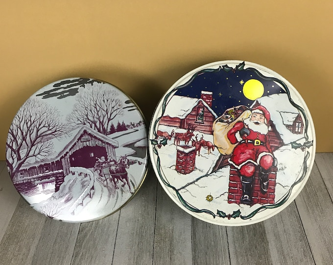 2 Round Vintage Christmas Cookie Tins w/ Rooftop Santa Claus & Sleigh Ride Holiday Decor - Old Metal Xmas Storage Cans - Shelf Decorations